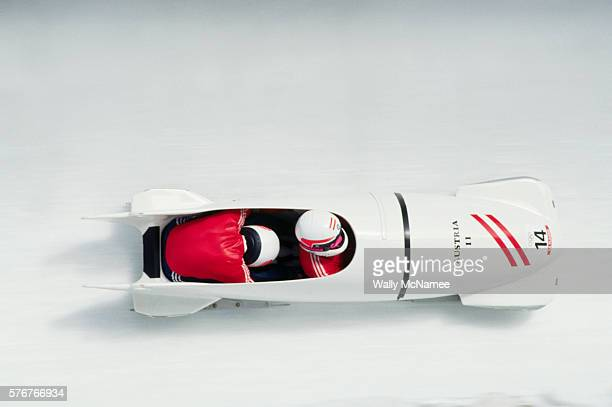 Two Man Bobsled Competition at Albertville Olympics