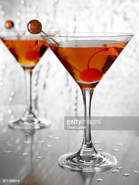 Two Manhattan cocktails