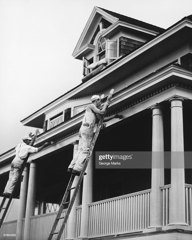 Strange Two Manual Workers On Ladders Painting House Exterior Stock Download Free Architecture Designs Ferenbritishbridgeorg