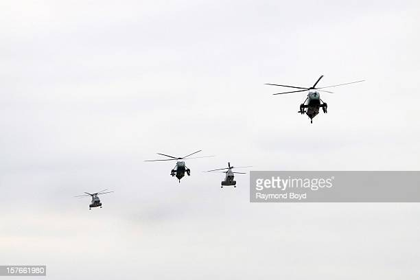 Two Marine One helicopters and two US Marine Corps helicopters flies above Chicago's O'Hare International Airport in Chicago Illinois on OCTOBER 25...