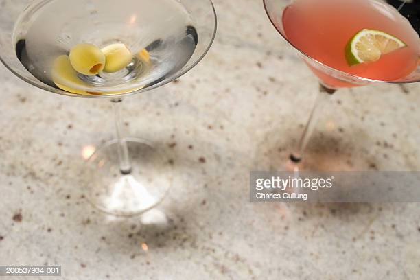 two martinis, elevated view - spanish olive stock photos and pictures