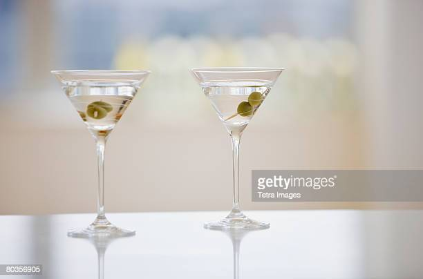 Two martinis on table