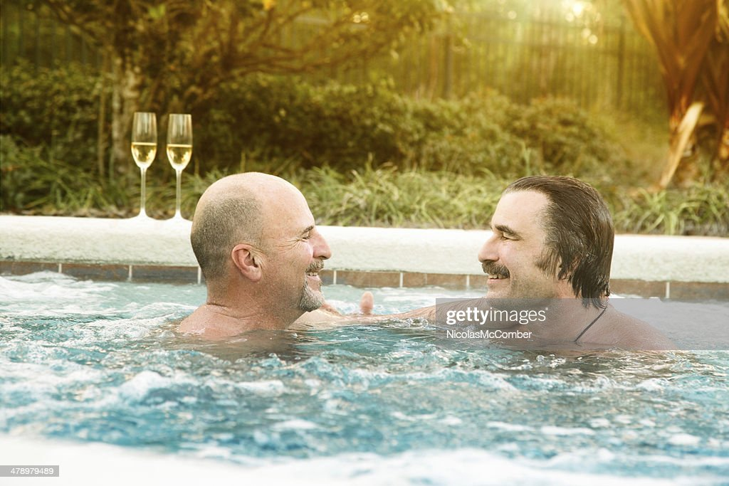 Two Mature Gay Men Bear Connecting In Hot Tub Stock Photo  Getty Images-8931