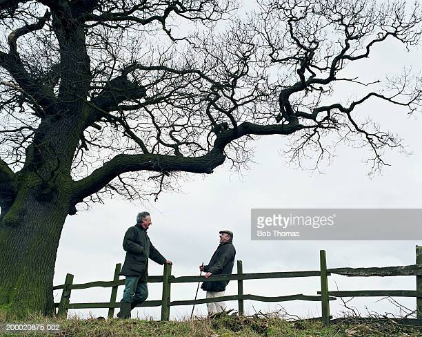 Two mature men laughing over wooden fence beneath tree, Northampton, England