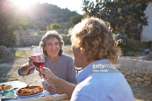 two mature men toasting with wineglasses - klaus vedfelt mallorca stock pictures, royalty-free photos & images