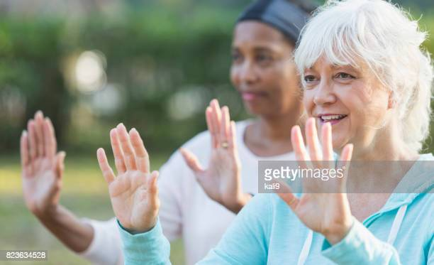 Two mature women in the park doing tai chi exercises