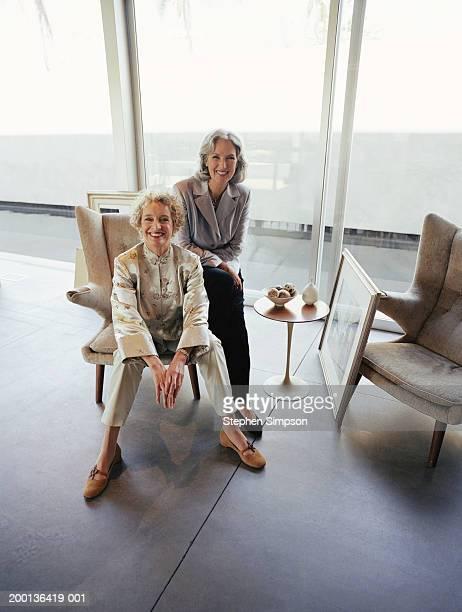 two mature women sitting on chair in house, portrait - kunsthändler stock-fotos und bilder