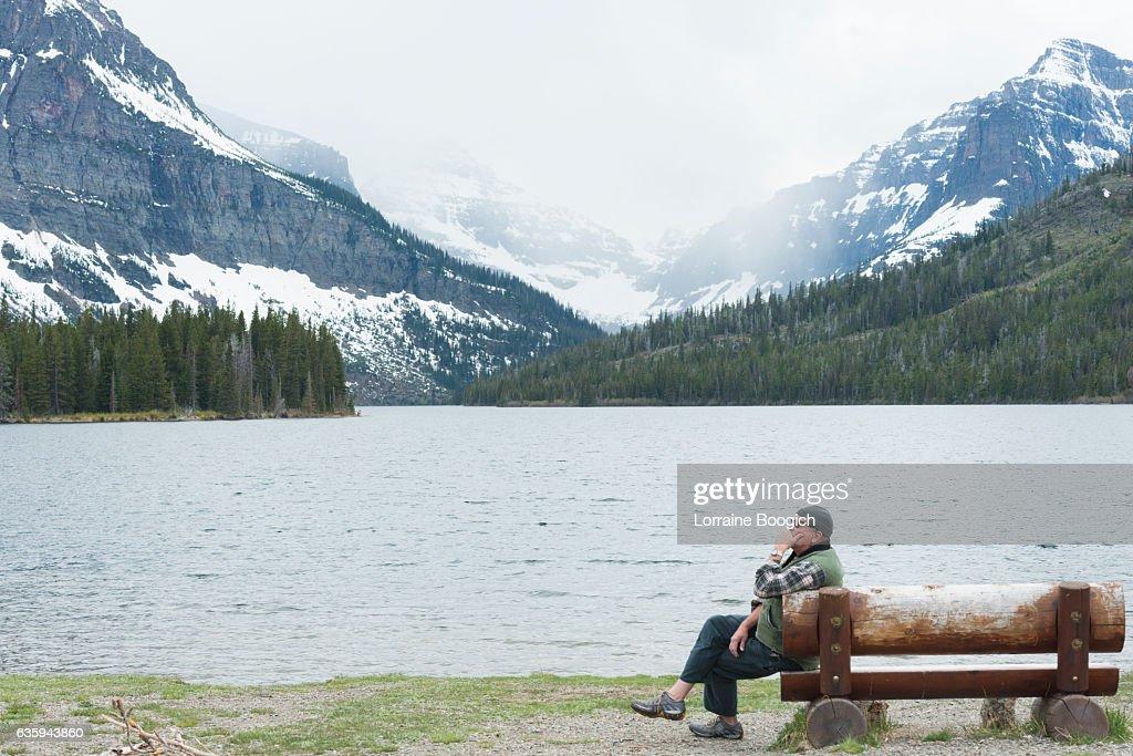 Two Medicine Lake with Sinopah Mountain Glacier National Park Montana : Stock Photo