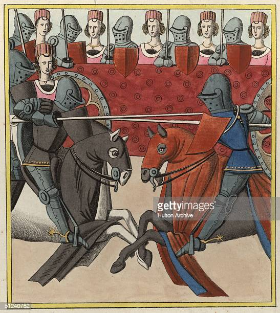 1466 Two medieval knights jousting in front of a row of judges and ladies Original Artwork Engraving by A Peree after Willemin