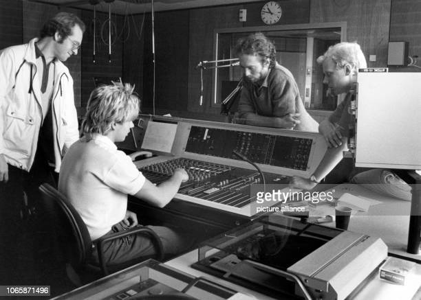 Two members of staff prepare the TV start in the cable centre in Berlin on the 11th of July in 1985 The Project corporation for cable communication...