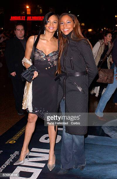 Two members of the British RB band Mis'Teeq arrive at the premiere of the movie 'Ali G Indahouse' in London