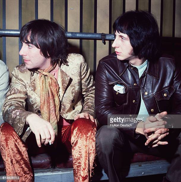 Two members of the British rock band The Who Keith Moon and John Entwistle sit together at the Rolling Stones Rock and Roll Circus Keith Moon is...