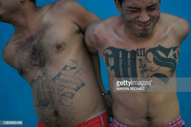 Two members of the Mara Salvatrucha gang are pictured after being detained by Salvadoran army soldiers and policemen during an operation in San...