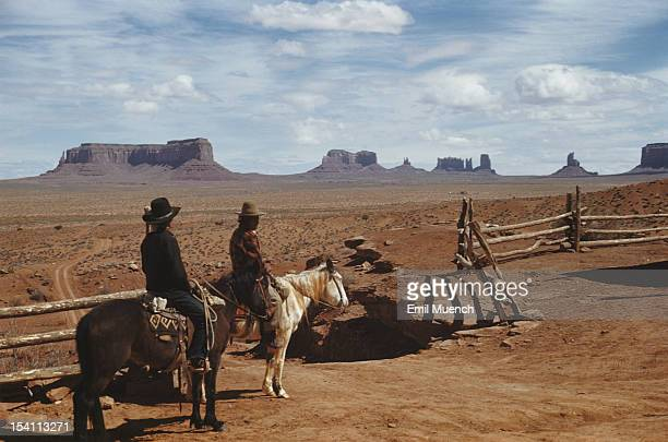 Two members of the Navajo tribe at Goulding's Trading Post on the ArizonaUtah border in Monument Valley USA circa 1965 The Navajo Tribal Park is...