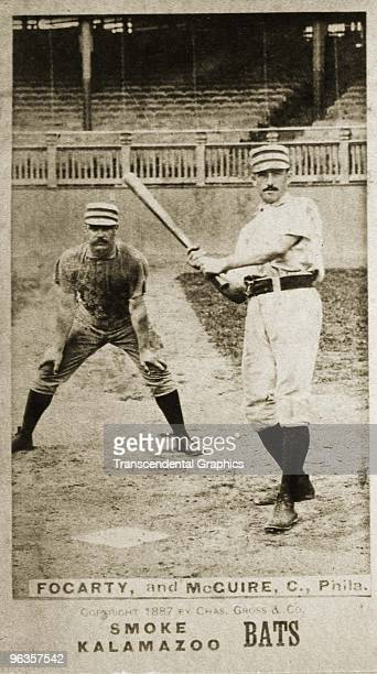 Two members of the Philadelphia National League baseball club pose for a photo which the Kalamazoo Bats tobacco company issued as a card Catcher...
