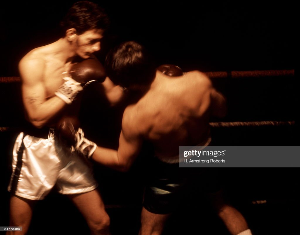 Two Men Are Boxing In The Ring. : Foto de stock