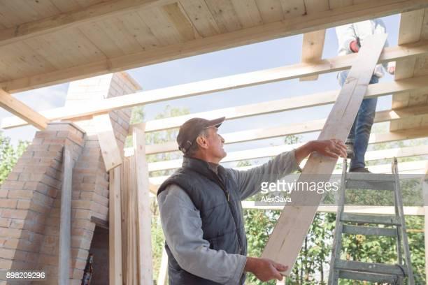 Two men building wooden chalet