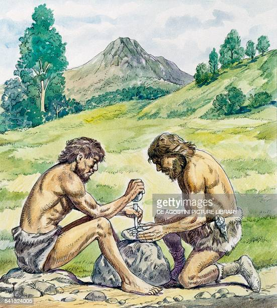 Two men chipping a stone to make a tool drawing Prehistory