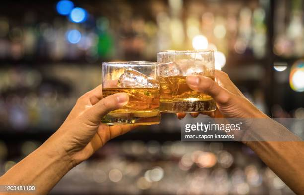 two men clinking glasses of whiskey drink alcohol beverage together at counter in the pub - celebratory toast stock pictures, royalty-free photos & images