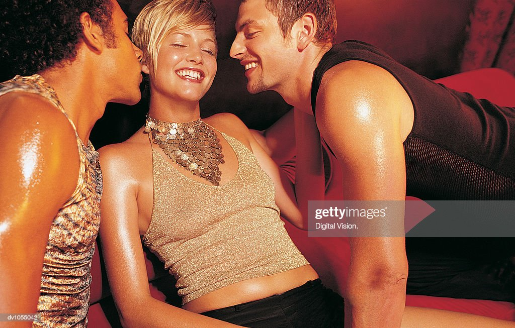 Two Men Competing for the Same Woman : Stock Photo