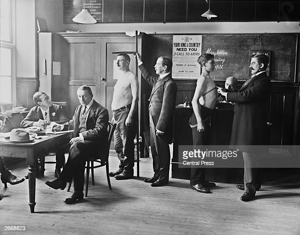 Two men conscripted to the British Army undergoing a medical checkup at Marylebone Grammar School London