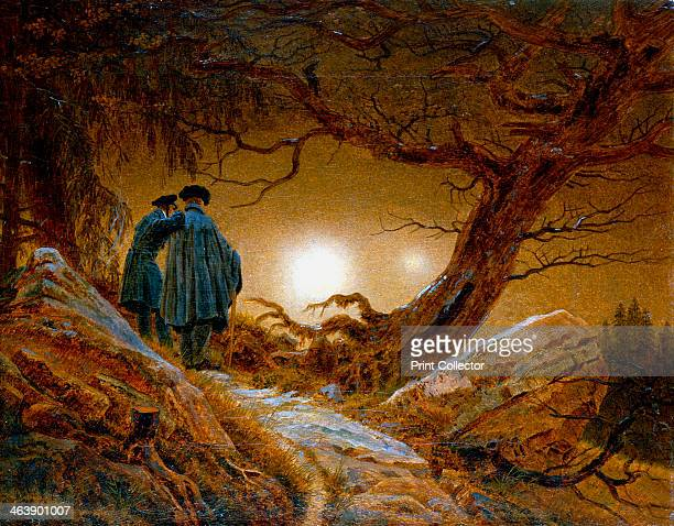 'Two Men Contemplating the Moon' c18251830 New Moon with earthshine a phenomenon described by Samuel Taylor Coleridge as The New Moon with the Old...