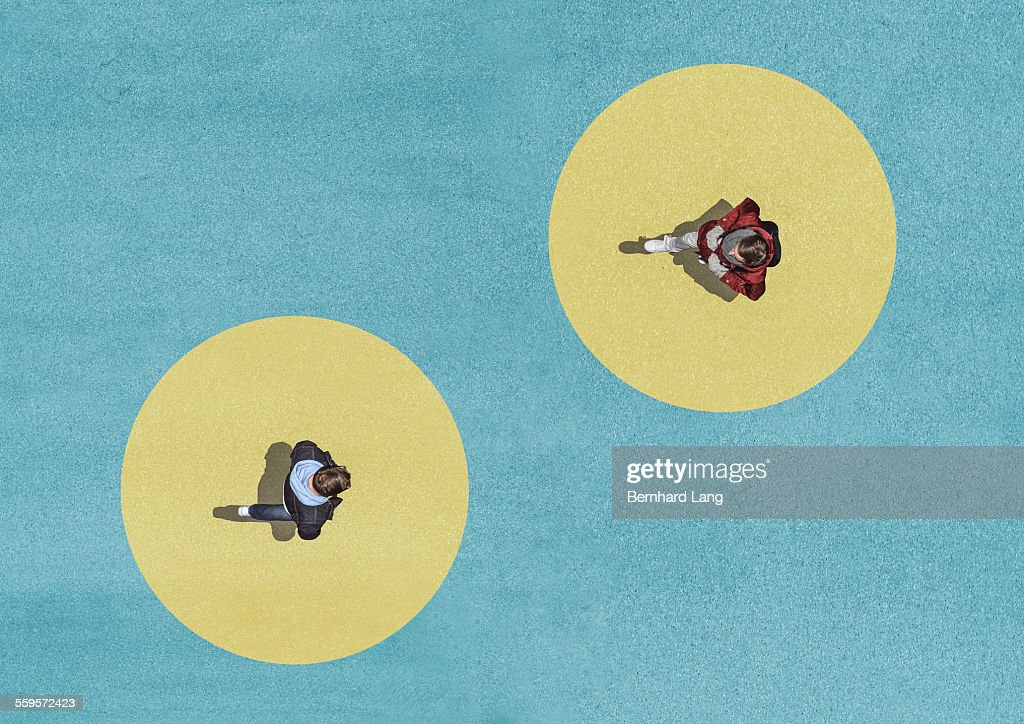Two men crossing, Aerial View : Stock Photo