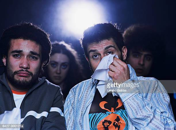 two men crying in movie - hombre llorando fotografías e imágenes de stock