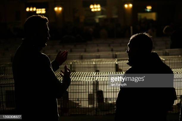 Two men discuss pigeons on the first day of the annual British Homing Pigeon World Show of the Year at Blackpool Winter Gardens on January 18 2020 in...
