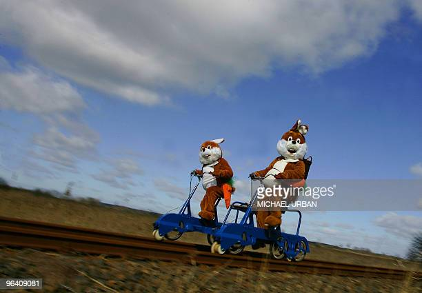 Two men disguised as Easter Bunnies take a ride on a socalled draisine rail vehicle on March 17 2008 at the adventure train in Mellensee eastern...