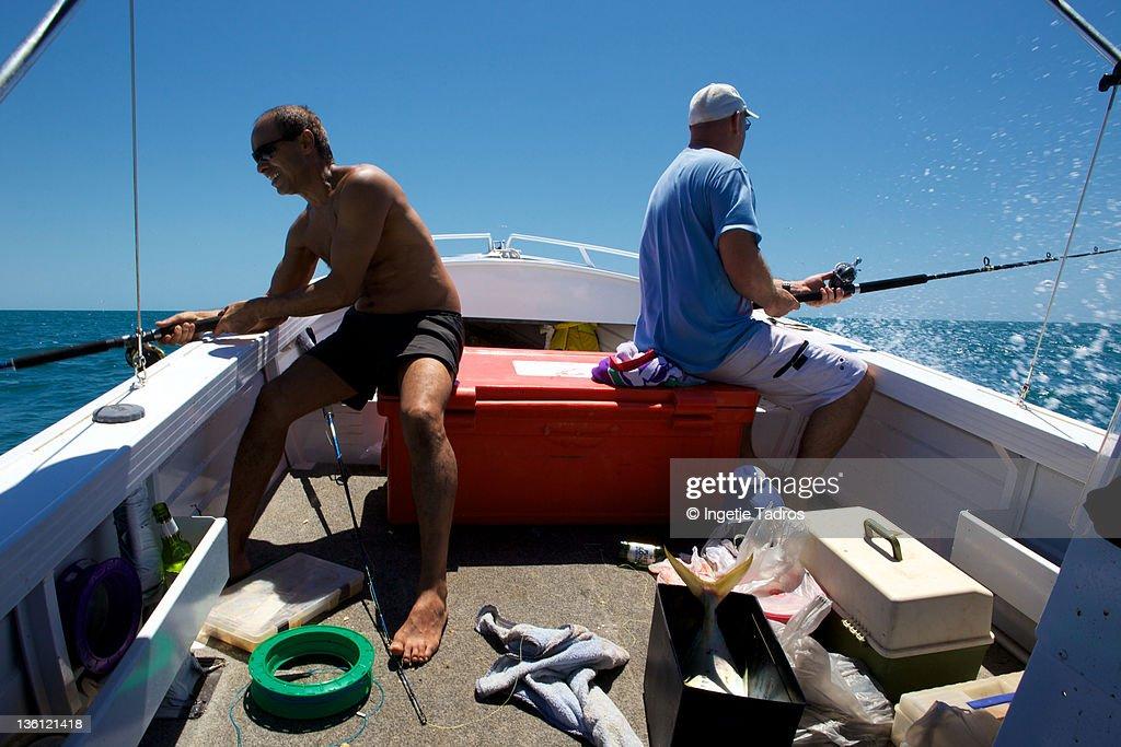 Two men fishing : Stock Photo