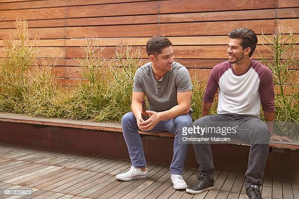two men hanging out - hek stockfoto's en -beelden
