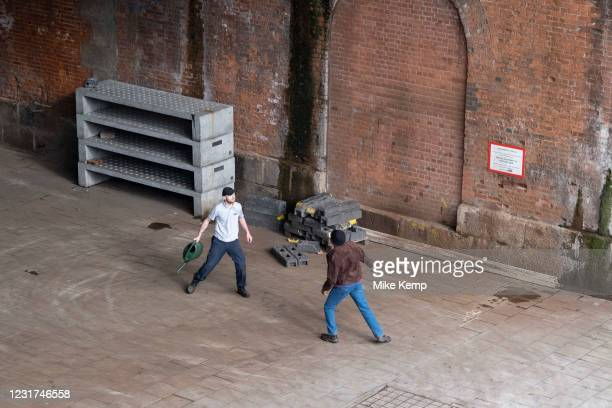 Two men having an altercation on the South Bank on 5th March 2021 in London, England, United Kingdom. The disagreement, which started when the man in...