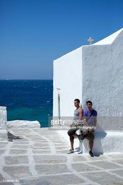 Two men in a magic Greek scenario
