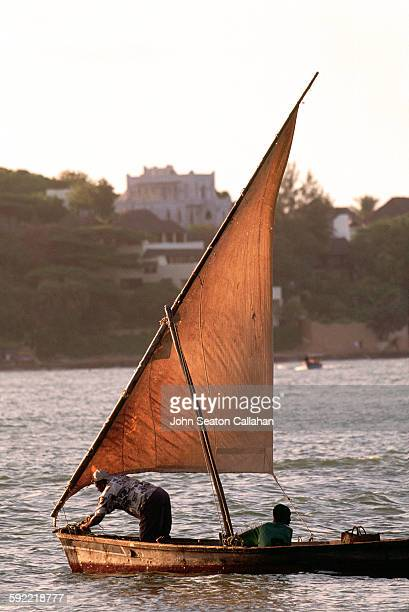Two men in a traditional dhow