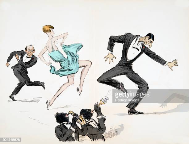 Two men in black tie and woman in bright blue dress dance to two musicians playing jazz on brass instruments from 'White Bottoms' pub 1927
