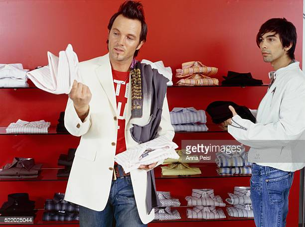 Two Men in Clothing Shop