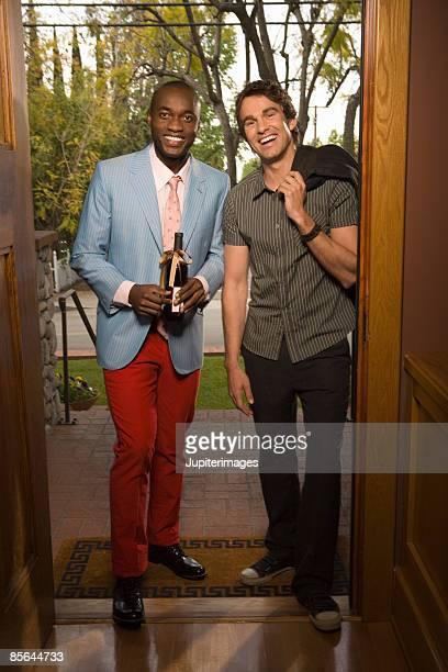 Two men in doorway