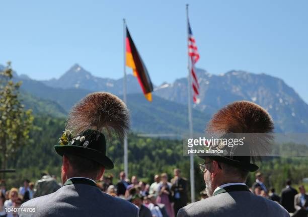 Two men in traditional costume during the visit of German Chancellor Angela Merkel with US President Barack Obama in Kruen, Germany, 07 June 2015...