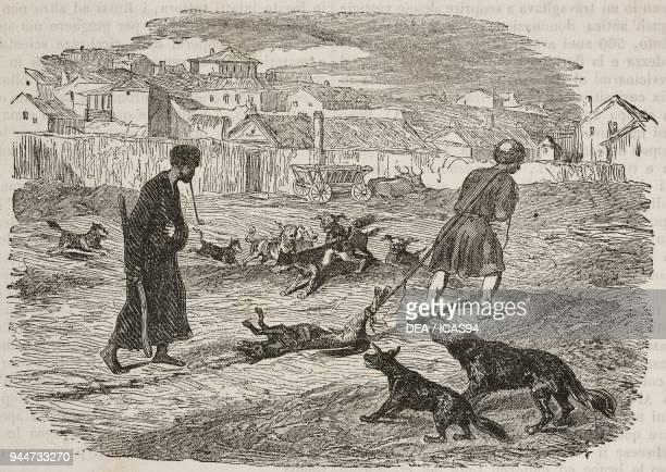Two men involved in the killing of stray dogs Kerch Crimea illustration from Teatro universale Raccolta enciclopedica e scenografica No 639 October...