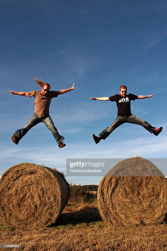 Two men Jumping : Stock Photo