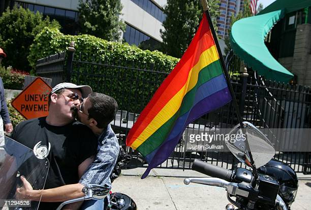Two men kiss before the start of the 36th annual LGBT Pride Parade June 25, 2006 in San Francisco. Hundreds of thousands of spectators lined the...