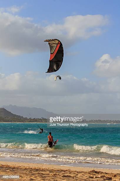 Two Men Kite Surfing in the Teal Waters of Kailua Beach with the Mokapu Peninsula in the Distance