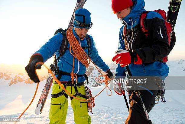 Two men mountaineering at Wildspitze in Austria