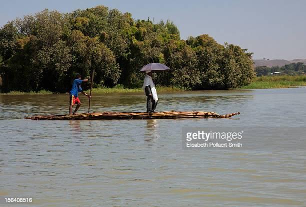 Two men on a ferry in Lake Tana, Ethiopia