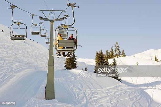 Two men on a ski lift