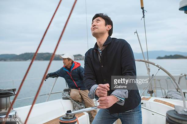 Two men on a yacht