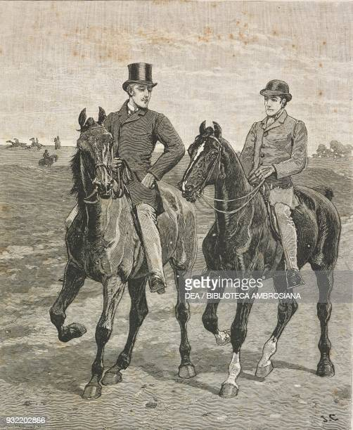 Two men on horseback drawing by John Charlton from the novel From Post to Finish by Henry Hawley Smart chapters XXIXXXX illustration from the...