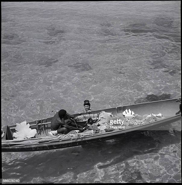 Two men one in the water another in a canoe gather decorative corals in a bay Jamaica