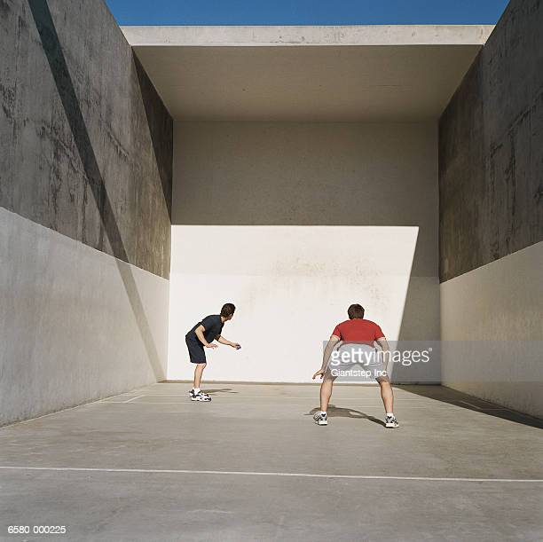 Two Men Playing Handball